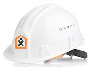 Biela stavbárska prilba s logom STAVMAXBB