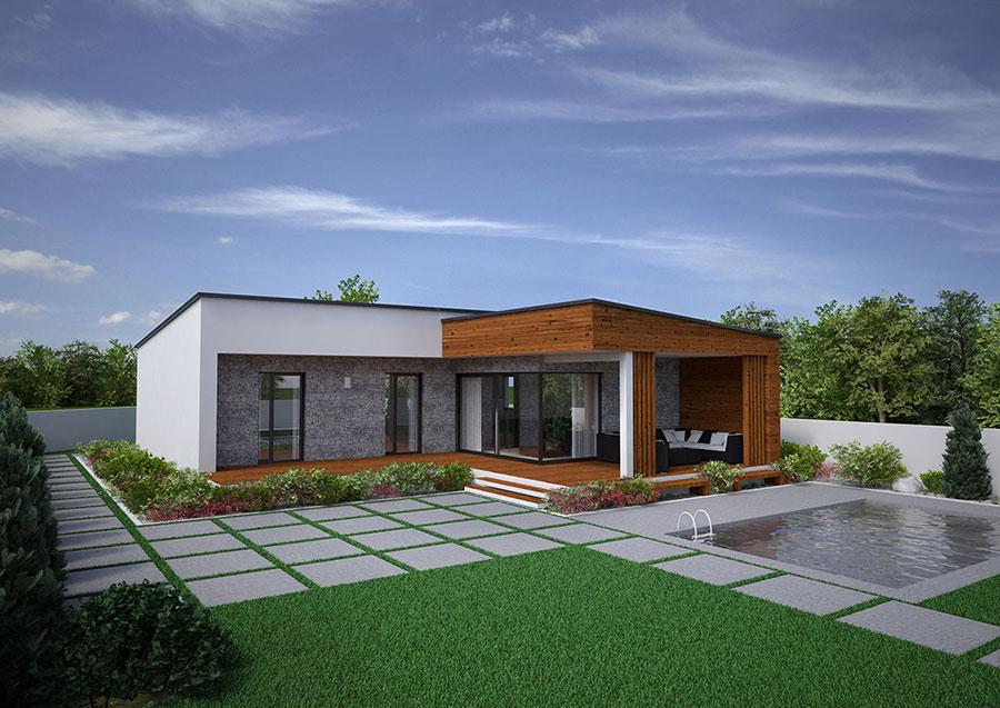Arnica - bungalov na kľúč - 4+kk s terasou - zadný pohľad na prepojenie so záhradou | STAVMAXBB