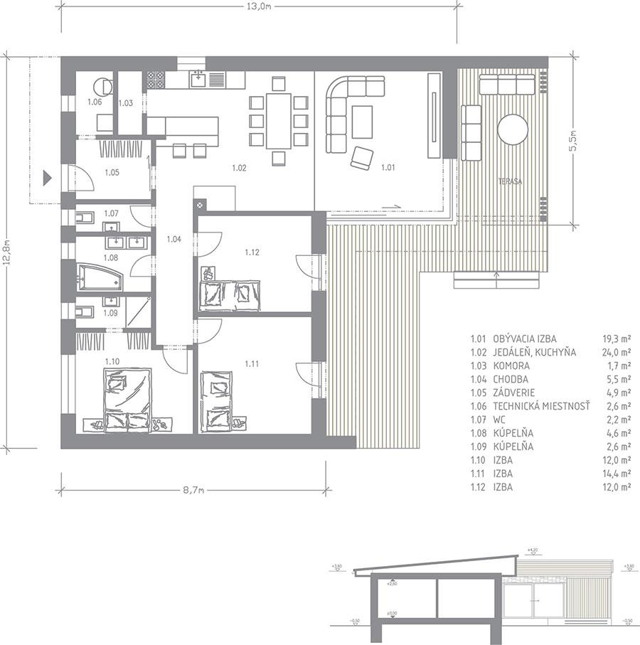 Arnica - bungalov na kľúč - 4+kk s terasou - pôdorys | STAVMAXBB