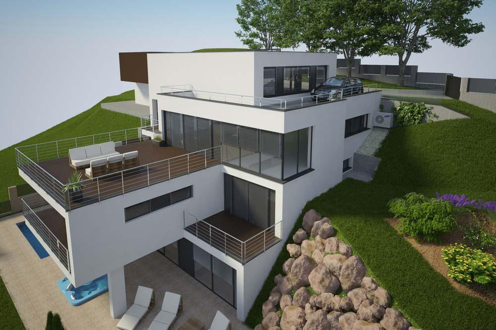 Projekt luxusného dom vo svahu | STAVMAXBB