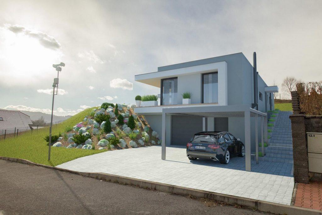 Projekt rodinného domu v kopci | STAVMAXBB